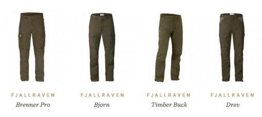 Fjällräven Trousers: Brenner Pro, Bjorn, Timber Buck and Drev