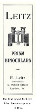 The First Advert for Leica Prism Binoculars Printed in 1910