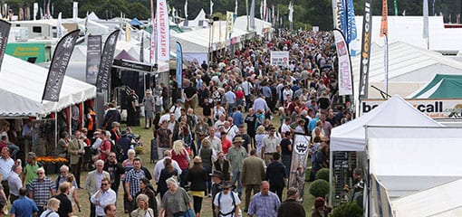 The fair at Ragley Hall with a large variety of gun and knive stands