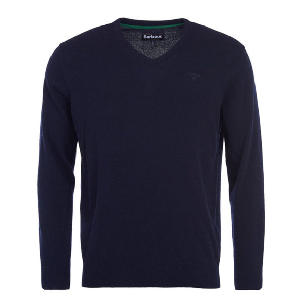 Barbour Essential Lambswool V Neck Sweater Navy With Double Ribbed Cuffs, Hem and Collar