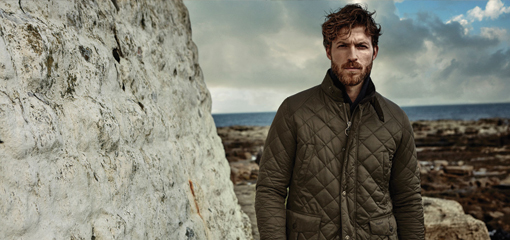 Man Outdoors Wearing Quality Barbour Quilted Jacket