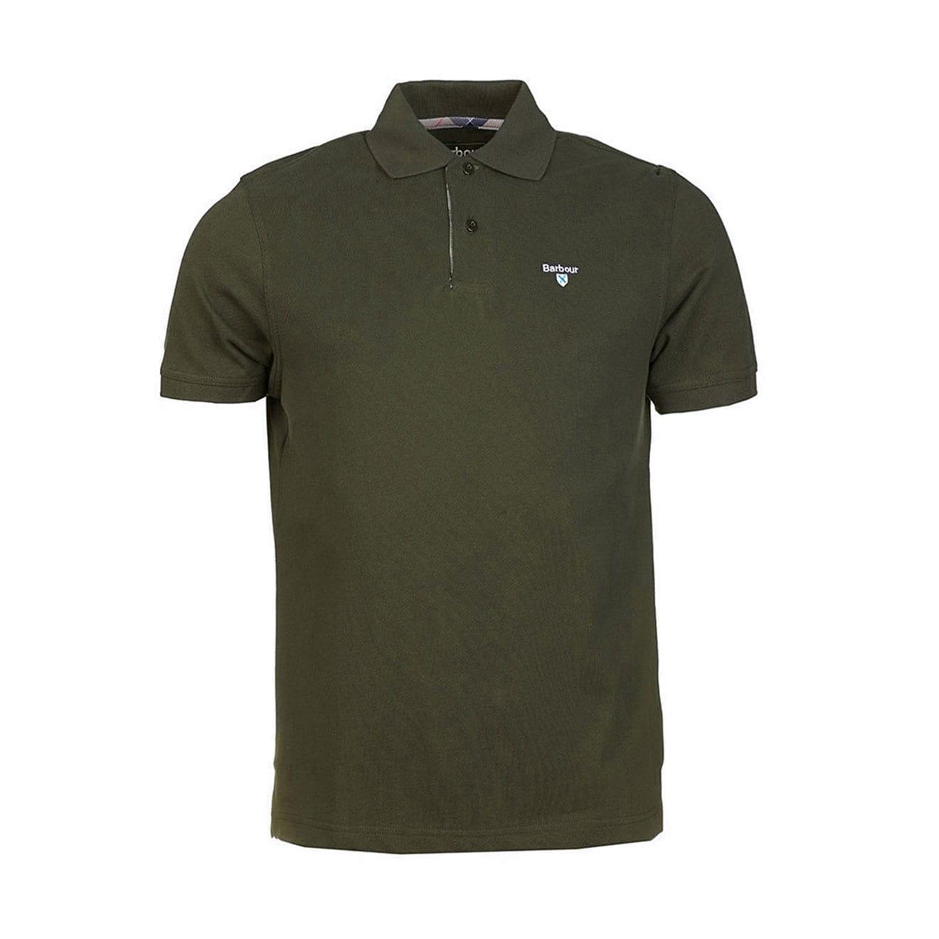 Barbour Tartan Cotton Pique Polo Shirt Forest Green The
