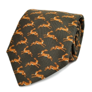 James Purdey Leaping Hare Woven Silk Tie