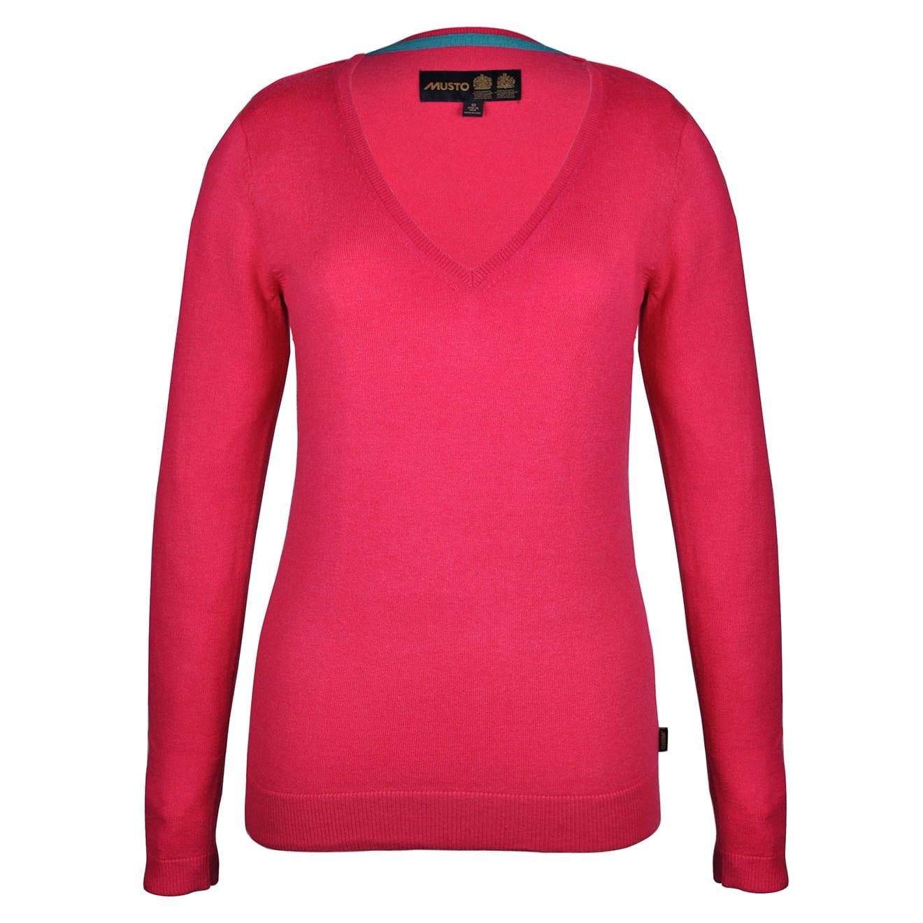 Musto Womens Light Merino V-Neck Bright Rose Marl