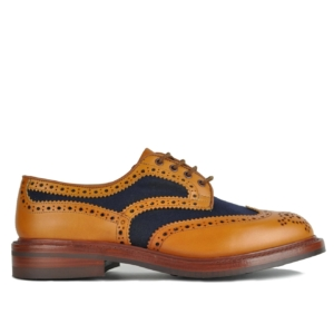 Trickers Bowood Canvas Leather Mix Derby Sole Brogue Tan/Navy