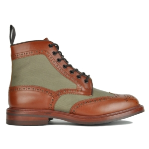 Trickers Kelmshott Canvas Leather Mix Derby Sole Brogue Boot Brown/Green