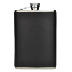 Brady Large Smooth Leather Hip Flask Black