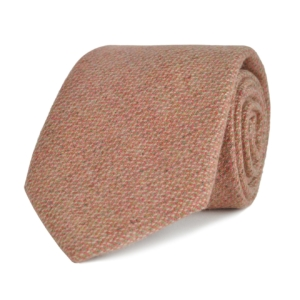 James Purdey cashmere tweed tie salmon