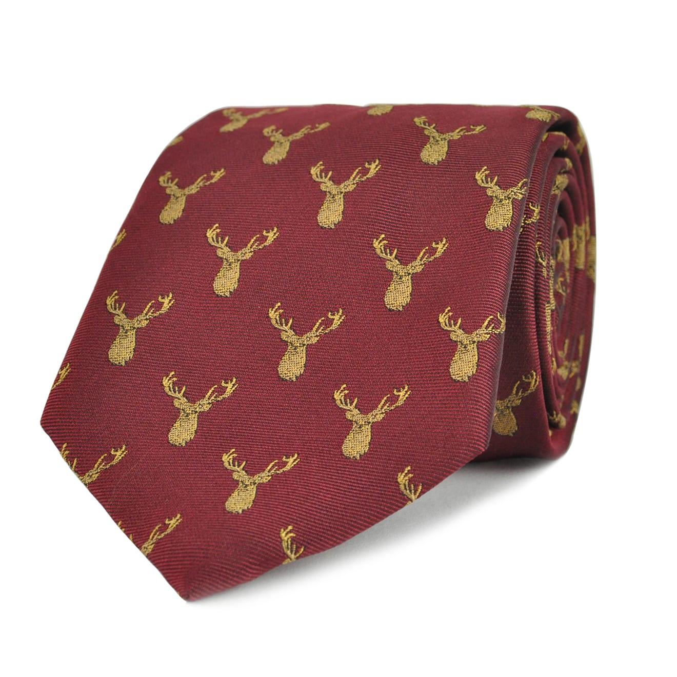 James Purdey Stag Head Silk Tie Wine