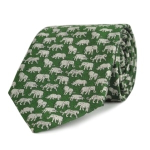 JAMES PURDEY WOVEN SILK BIG FIVE TIE GREEN