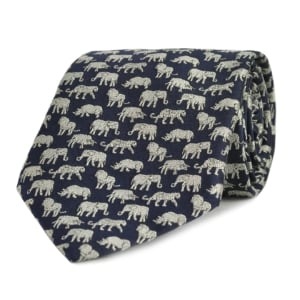 JAMES PURDEY WOVEN SILK BIG FIVE TIE NAVY