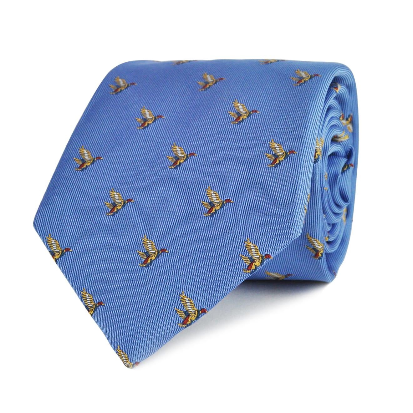 James Purdey Flying Ducks Tie Sky Blue