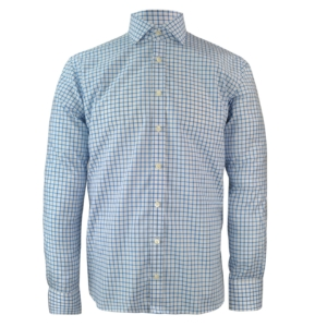 James Purdey Large Check Shirt Blue
