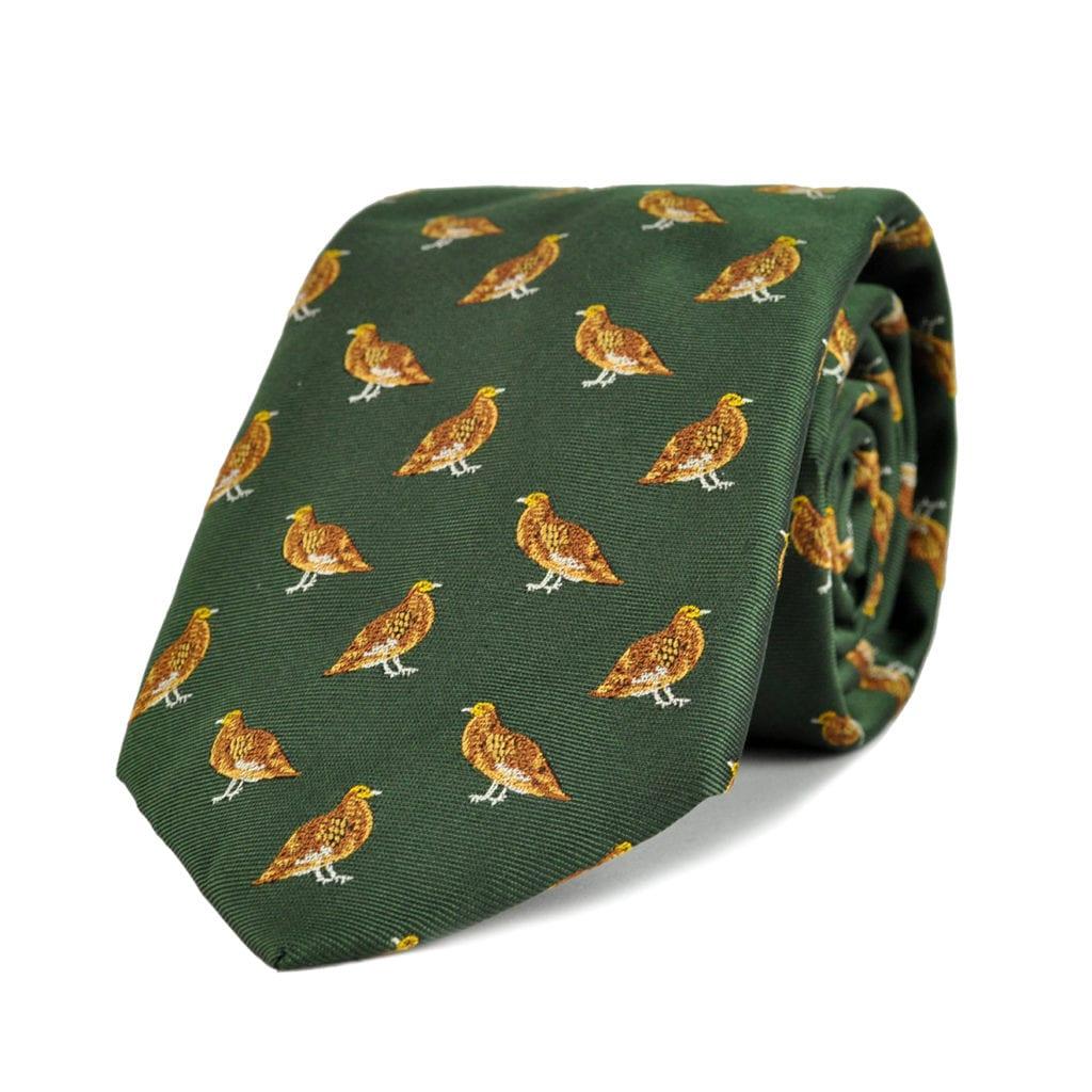 James Purdey Standing Grouse Woven Silk Tie Green