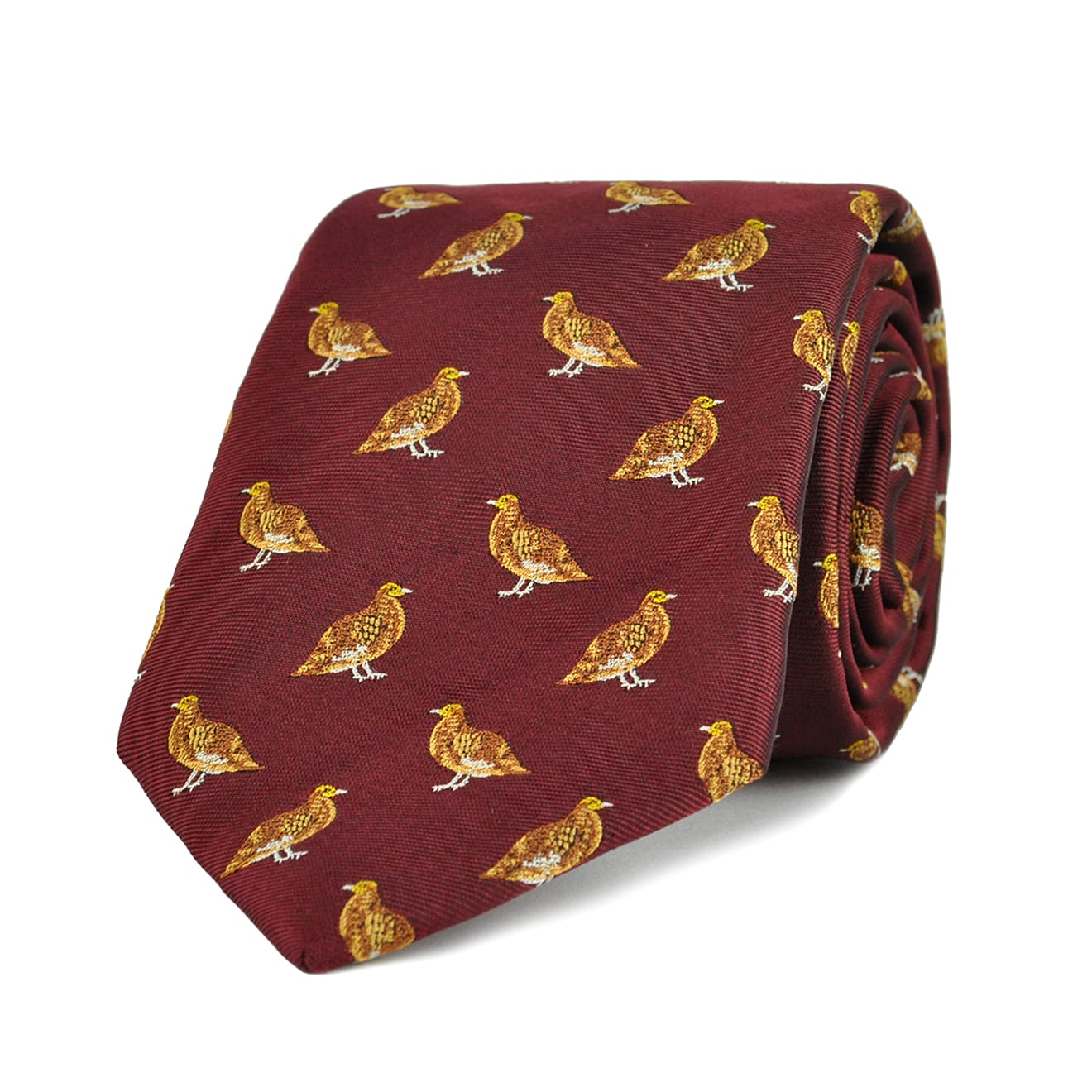 James Purdey Standing Grouse Woven Silk Tie Red