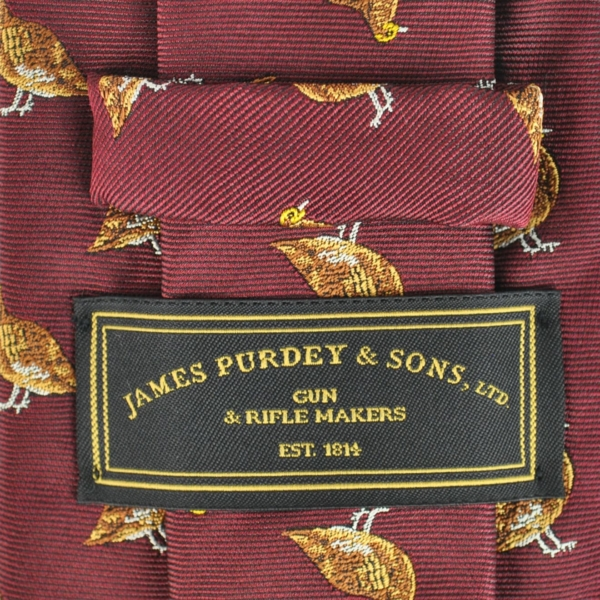 James Purdey Standing Grouse Silk Tie Red