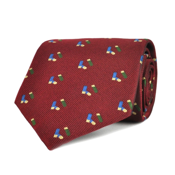 Sporting Lodge Woven Silk Mini Shotgun Cartridges Tie Burgundy