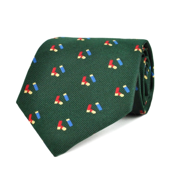 Sporting Lodge Woven Silk Mini Shotgun Cartridges Tie Dark Green