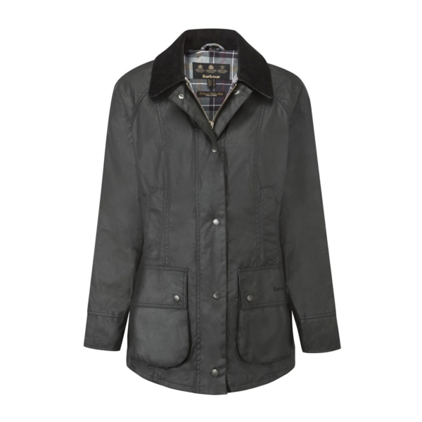 Barbour Womens Beadnell Wax Jacket Black With Corduroy Collar & Large Patch Pockets