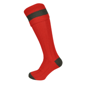 Macfarlaine Contrast Shooting Socks Gala Red / Olive
