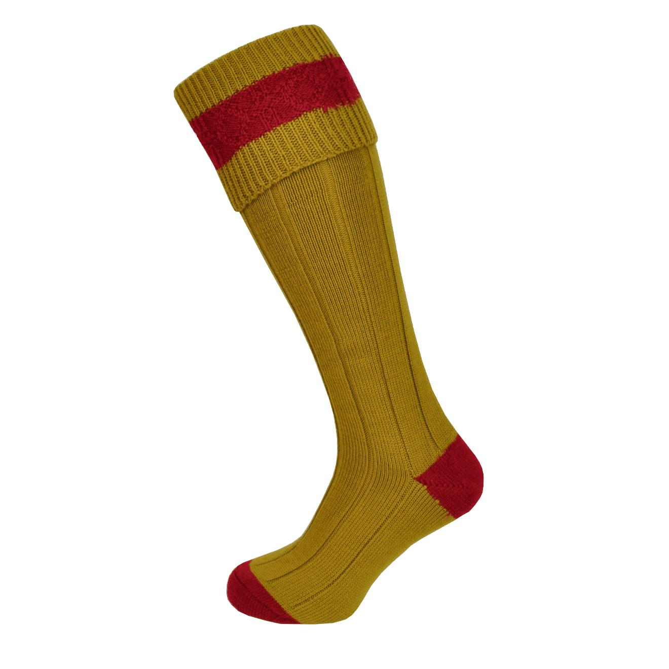 Macfarlaine Contrast Shooting Socks Mustard / Cherry
