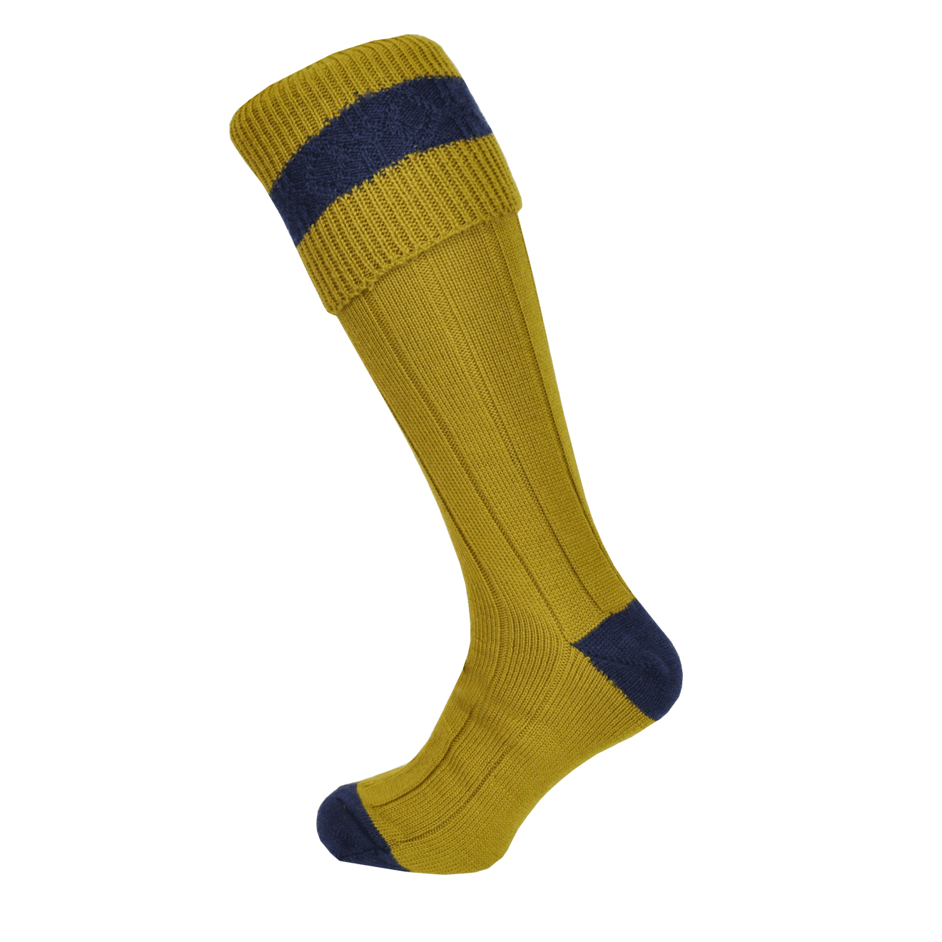 Macfarlaine Contrast Shooting Socks Antique Gold / Navy