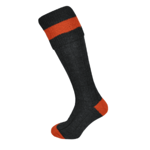 Macfarlaine Contrast Shooting Socks Charcoal/Orange