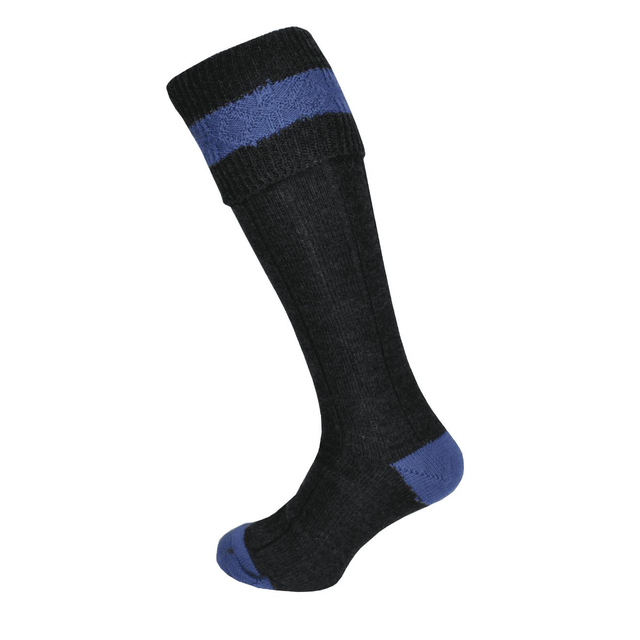 Macfarlaine Contrast Shooting Socks Charcoal / Denim