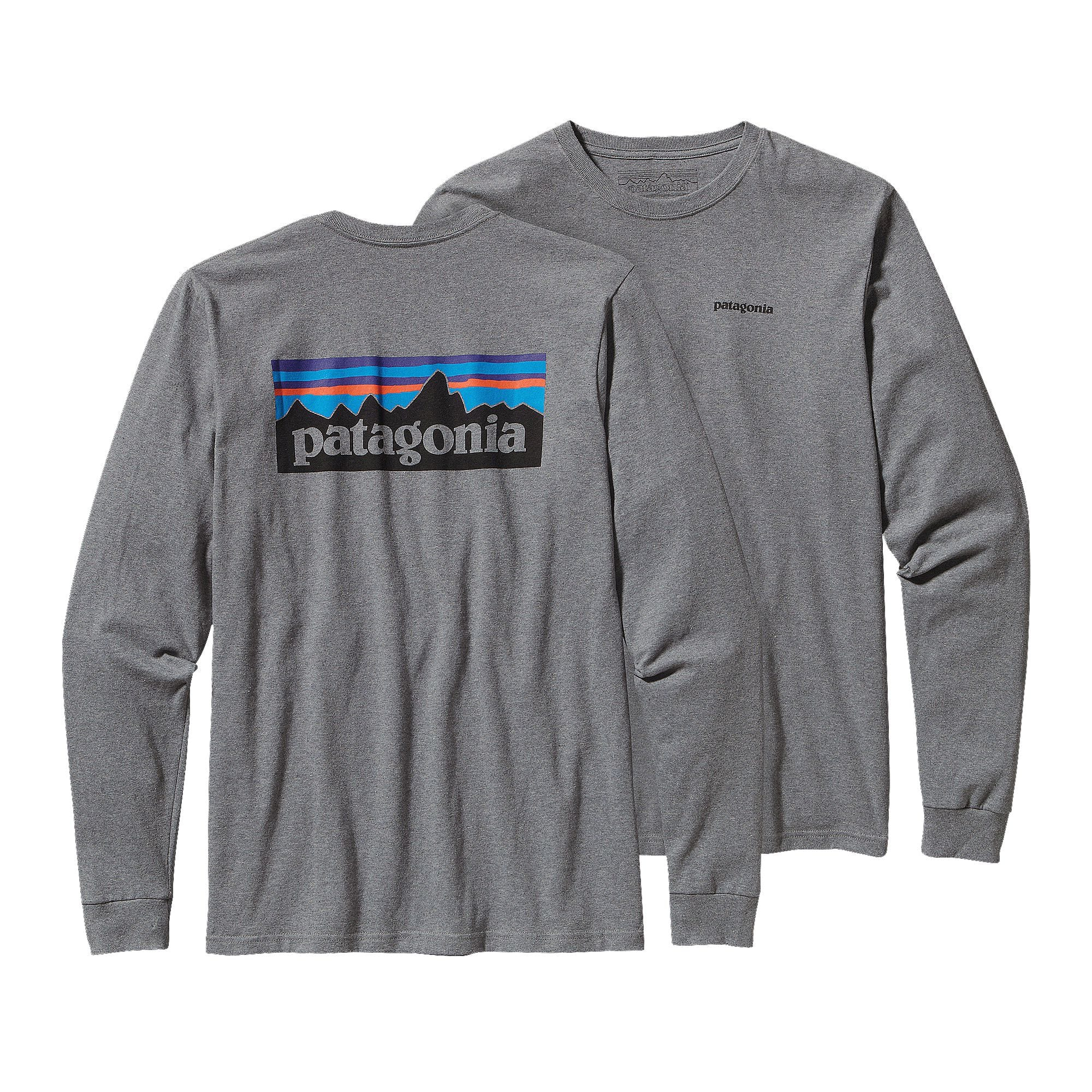 Patagonia mens long sleeve p 6 logo cotton t shirt the for Long sleeve cotton tee shirts