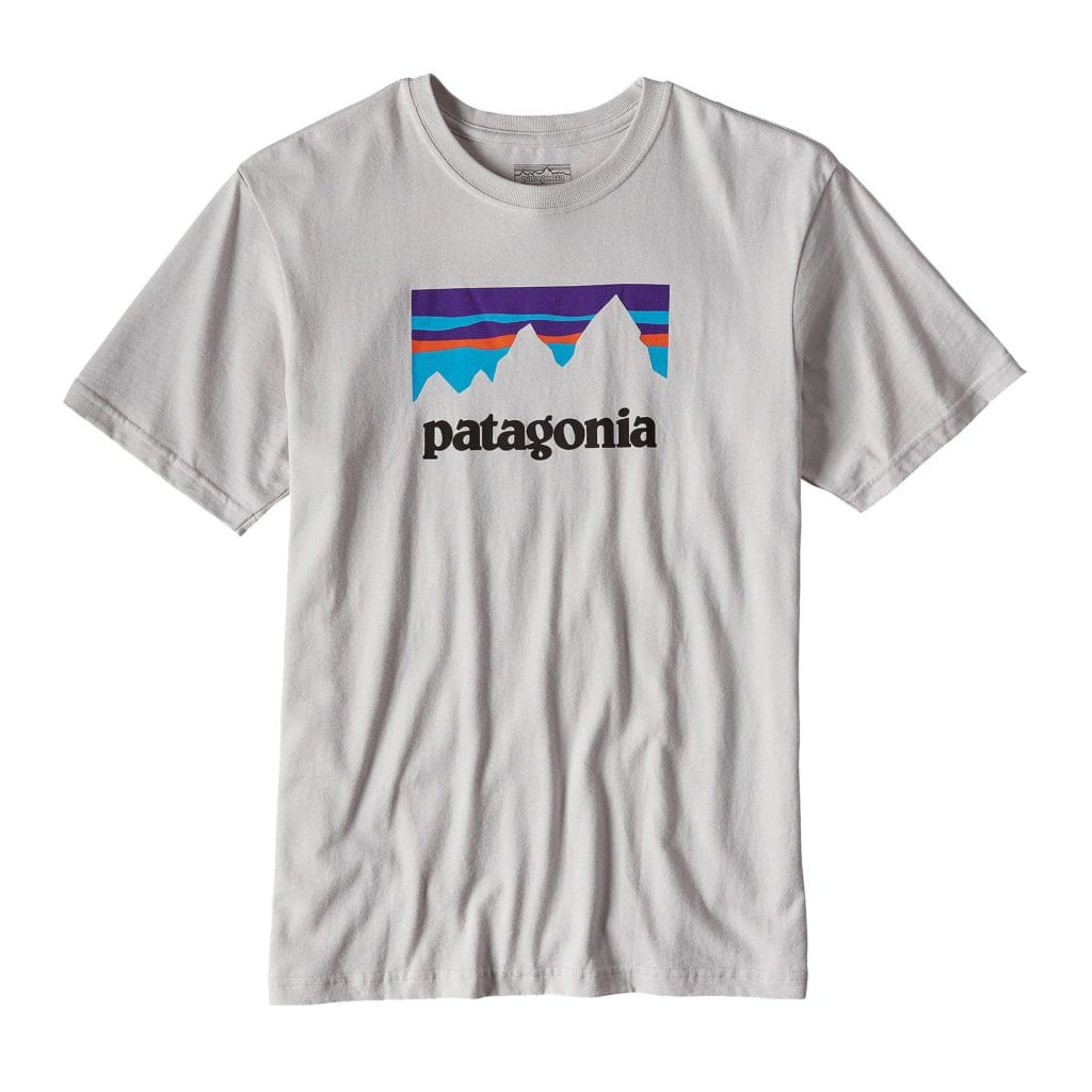 Patagonia Mens Shop Sticker Cotton T-Shirt Tailored Grey