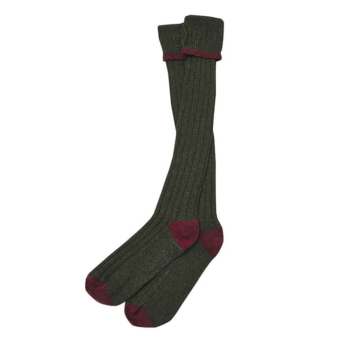 Barbour Contrast Gun Socks Olive / Cranberry