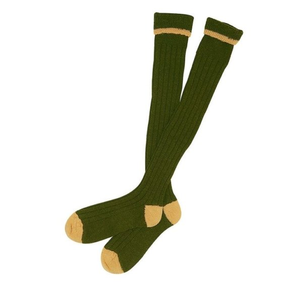 Barbour Contrast Gun Socks Olive & Gold