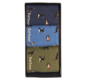 Barbour Dog Motif 3 Pack Socks