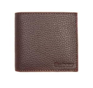 Barbour Grain Leather Billfold Wallet Brown