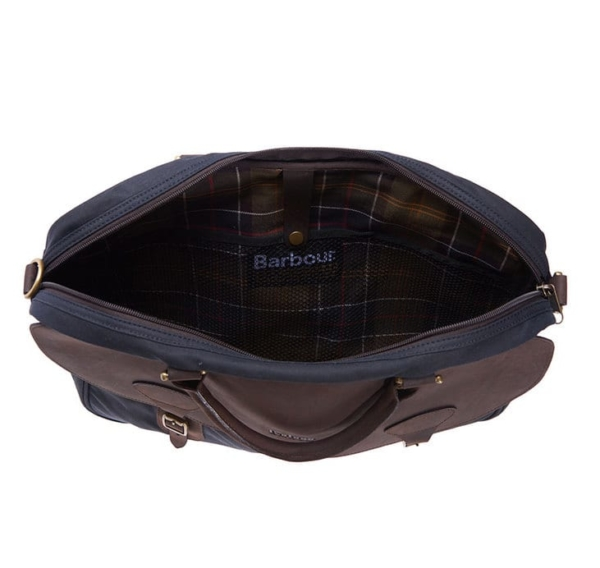 Barbour Wax Leather Briefcase Navy