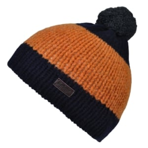 Barbour Nelson pom beanie hat navy/gold/grey