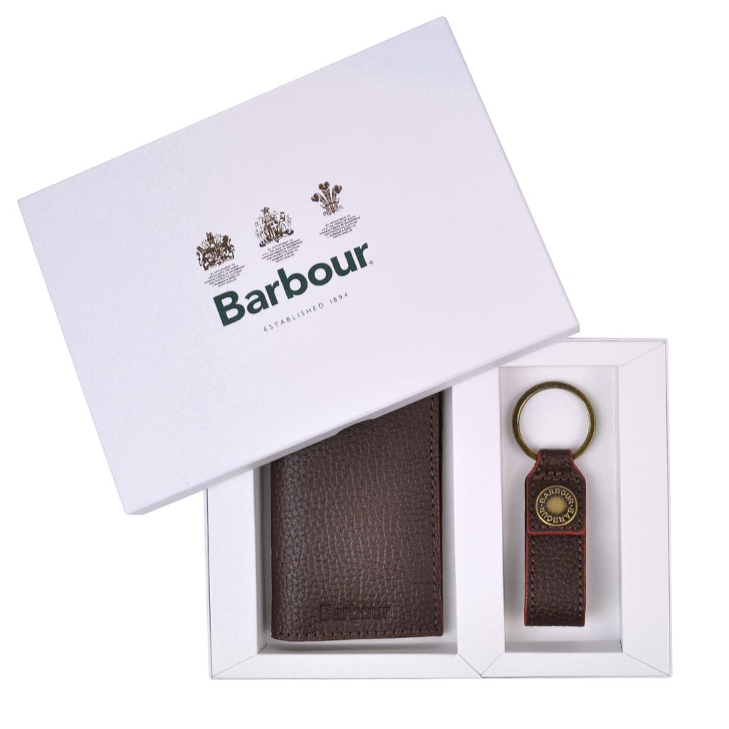 Barbour Grain leather wallet and keyring gift set dark brown