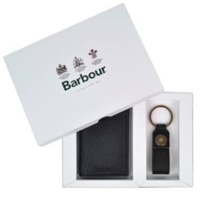 Barbour Grain leather wallet and keyring gift set black