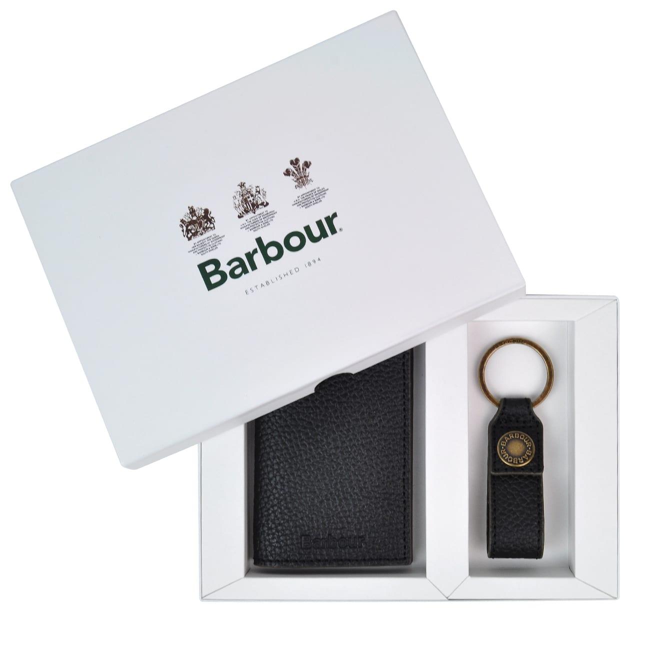Barbour Grain leather wallet and keyring gift set black