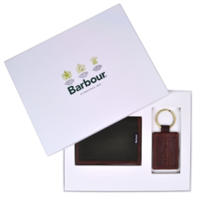 Barbour Drywax card holder and keyring gift set