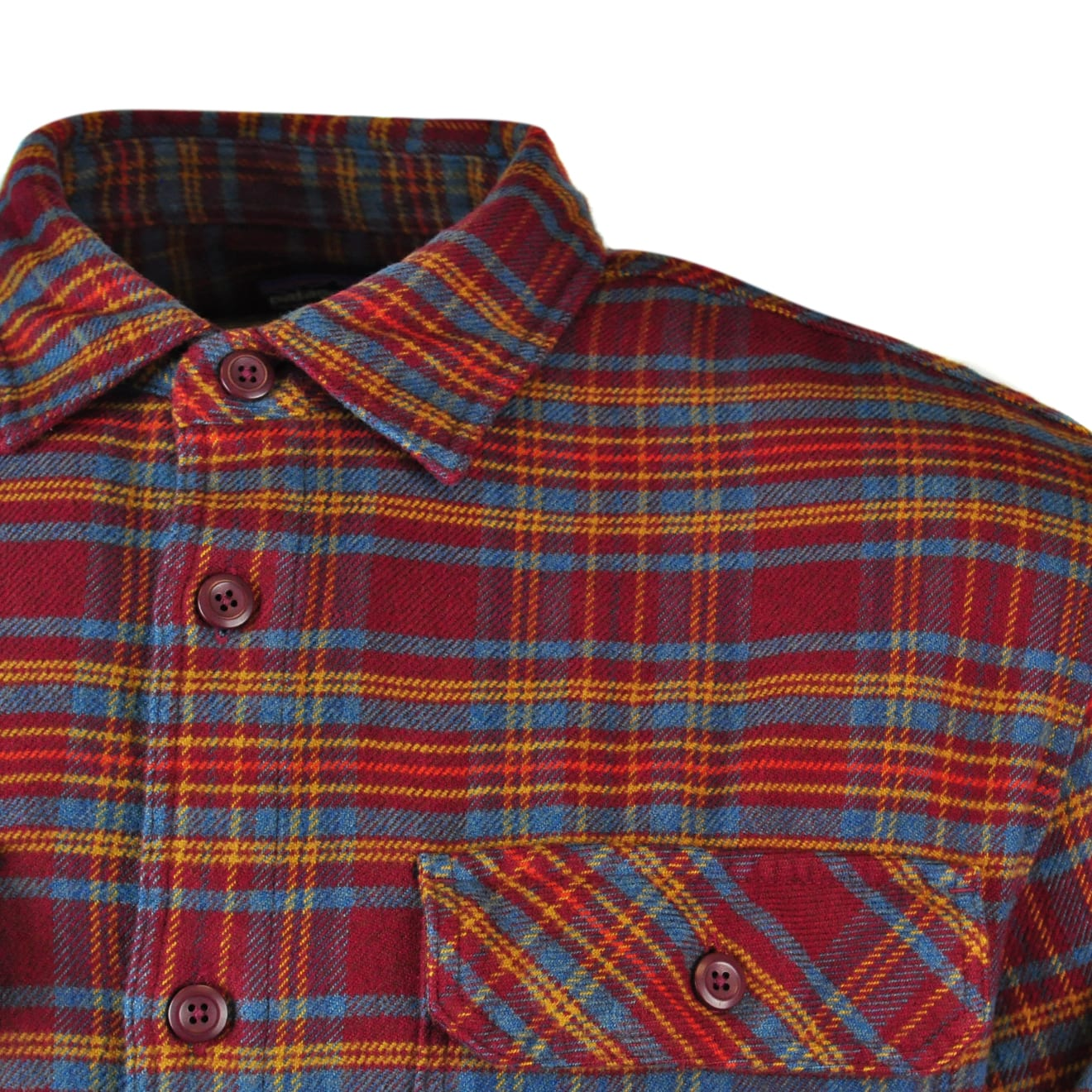 Patagonia Mens Long Sleeve Fjord Flannel Shirt Dark Ruby
