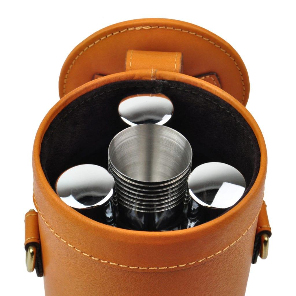 James Purdey Leather Cased Triple Flask/Position Finder Set