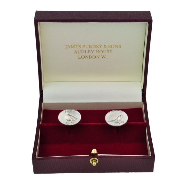 James Purdey Sterling Silver Cufflinks With Pheasant/Grouse Relief