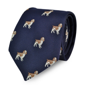 James Purdey Spaniel Silk Tie Navy