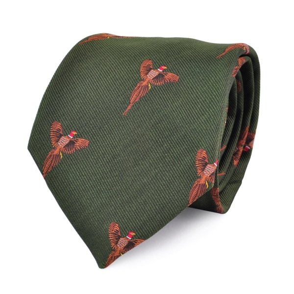James Purdey Flying Pheasants Woven Silk Tie Green