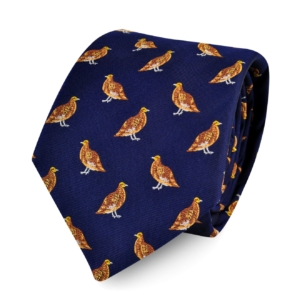 James Purdey Standing Grouse Woven Silk Tie Navy