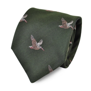 James Purdey Flying Woodcock Woven Silk Tie