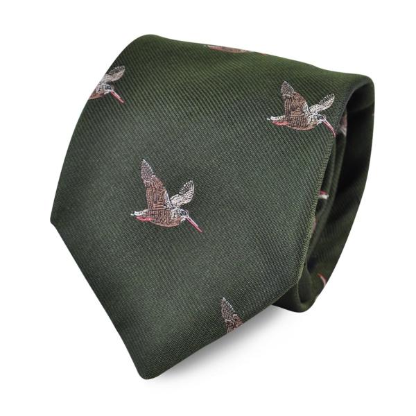 James Purdey Flying Woodcock Woven Silk Tie