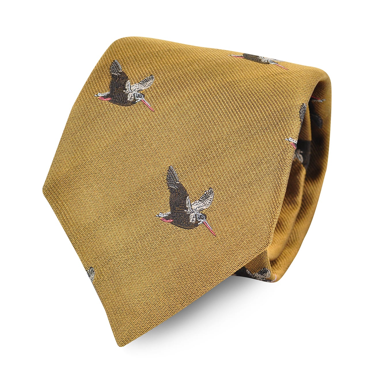 James Purdey Flying Woodcock Woven Silk Tie Gold