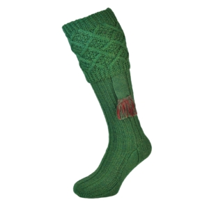James Purdey Cable Top Socks Lovat Green